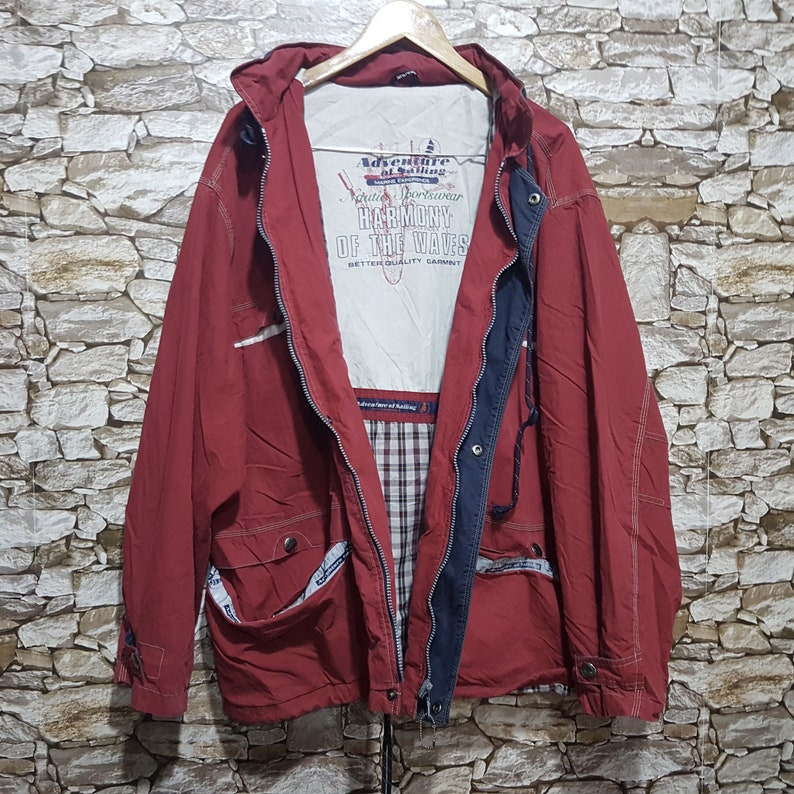 Vintage 90s Adventure of sailing jacket windbreaker men size 54XLold school retro jacket with Hood Vintage clothing men