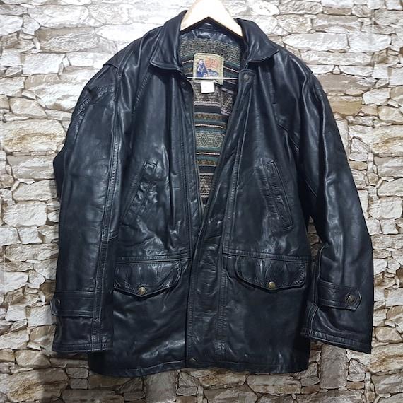 Vintage 90s leather jacket windbreaker GIORGIO bla