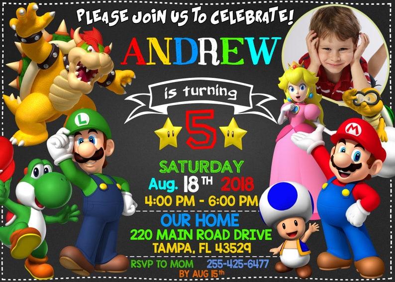 Super Mario Invitation, Super Mario Party, Super Mario Birthday, Super  Mario Brothers, Super Mario Birthday Invitation, Super Mario Card