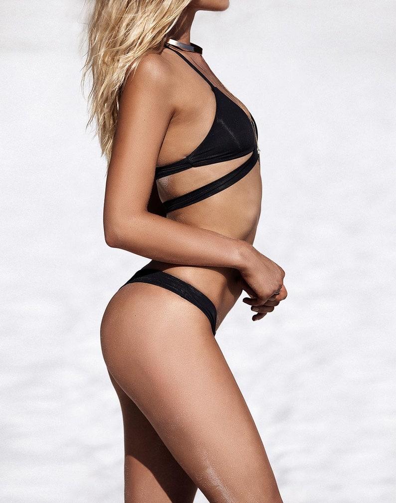Black Cheeky Cut Bikini Top