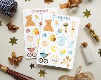 Sticker Sheet - Baby | Bullet Journal Stickers, Planner Stickers, Scrapbook Stickers, Baby Stickers, Babyshower Stickers, Kids Stickers