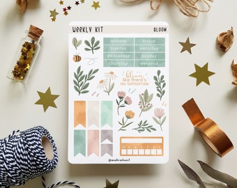 Weekly Kit - Bloom | Bullet Journal Stickers, Planner Stickers, Scrapbook Stickers, Floral Sticker, Flower Stickers, Spring Stickers, Pastel
