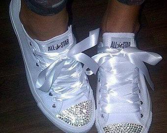 Blinged Diamante Converse All Stars Ribbon Laces All White 2dbc080c6