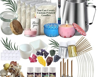 Candle Making Kit for Adults   - DIY Create and Print your own candles  - Soy Wax Complete Kit with Reusable Silicone Molds, Tins and Jars