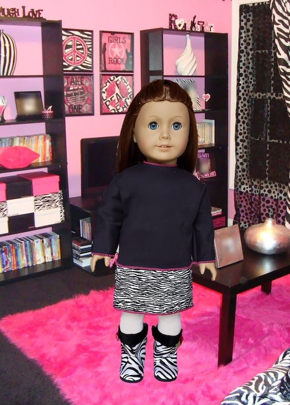 """Zebra Striped Boots For 18"""" American Girl Doll Clothes"""