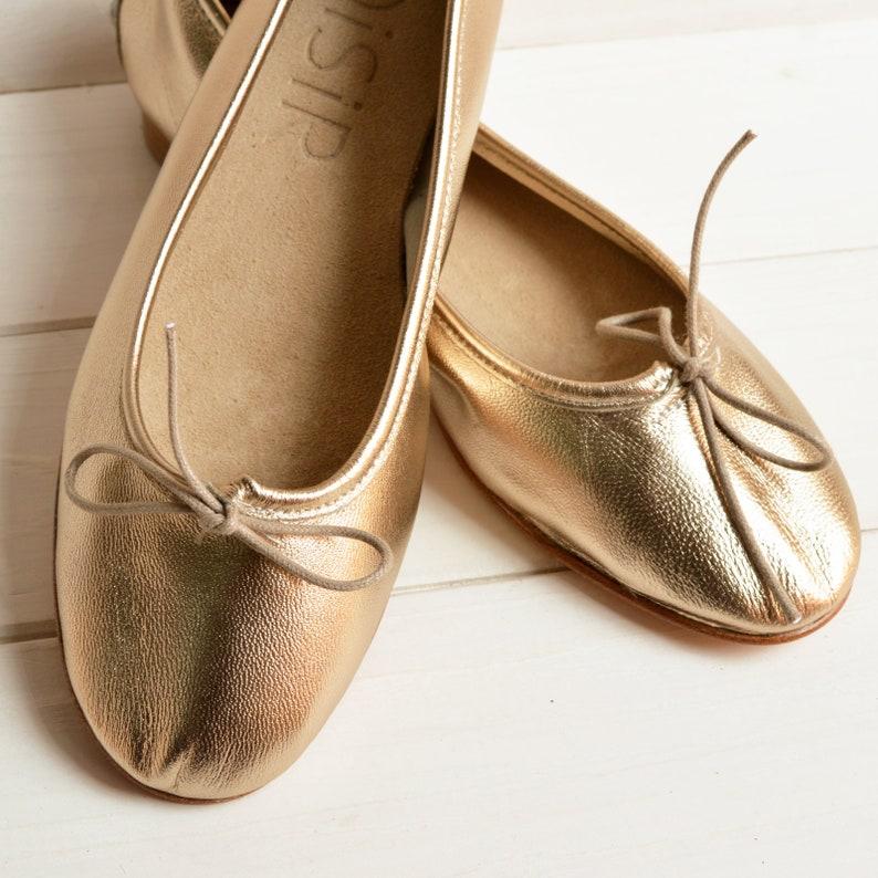 96dec6c148a8 SUPER SOFT leather light gold ballet flats. Elegant