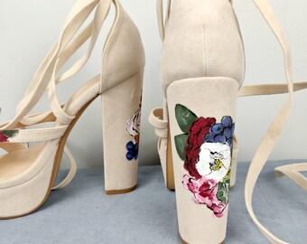 433524cf9b0 Floral painted heels-Custom wedding gift-personalised-flowers-Hand painted wedding  shoes- painted heels- floral painted wedding shoes