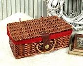 Vintage Basket, Suitcase, Rattan Basket, Picnic Basket - 70s 80s