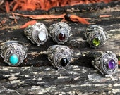 Ornate Sterling Silver Garnet -Amethyst-Peridot-Onyx-Moonstone-Turquoise Poison, Potion, Stash Ring