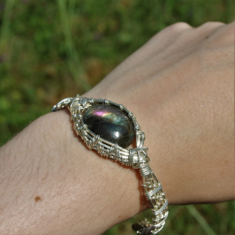 Labradorite Bangle purple blue green cabochon silver plated Wire wrapped square copper wire mineralogy Crystal healing
