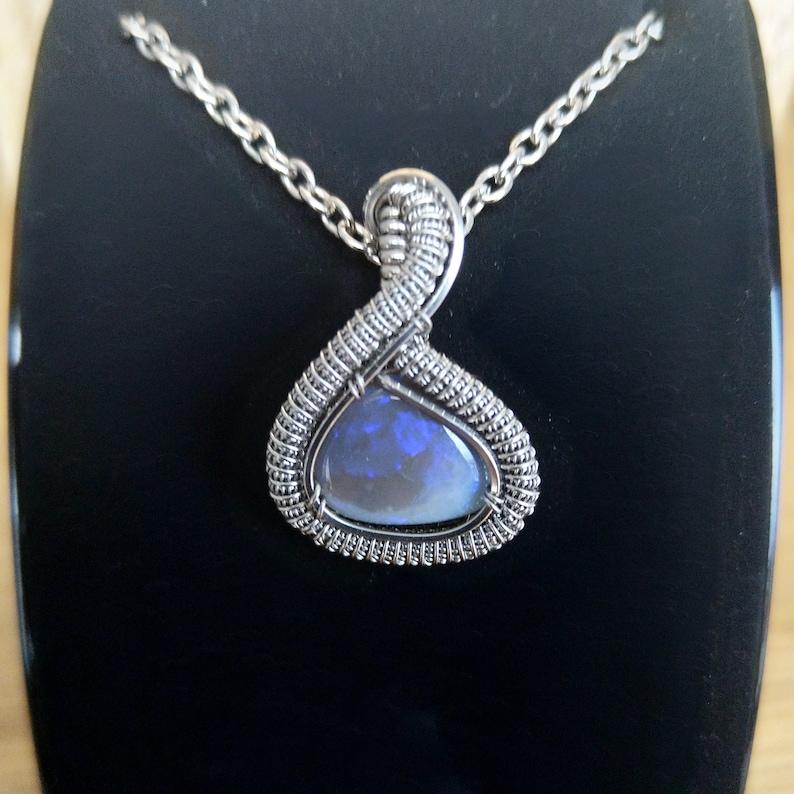 Norse Australian Opal Pendant Semi-Black Opal Heady Wire Wrapped Pendant Lightning Ridge Opal Necklace Celtic Necklace Stainless Steel