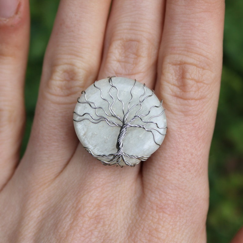 Stainless Steel Ring Tree of Life Ring Moonstone Ring Elven Ring Wire Wrapped Ring Celtic Ring Size 7 14 US 55 FR White Moonstone