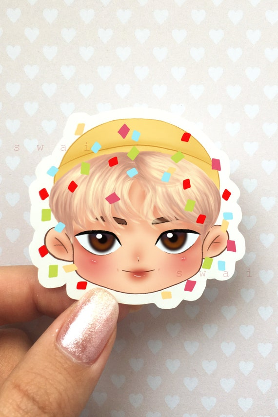 Bts Rm Cute Chibi Sticker With Confetti Etsy