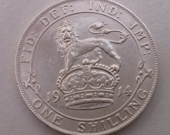 1914 Shilling Silver Coin George Good Extra Fine Condition