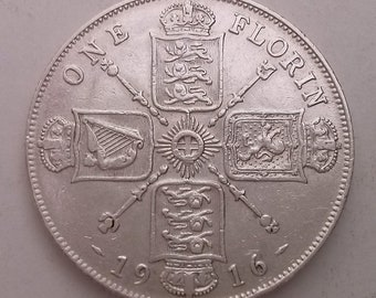 1916 Florin Silver Coin George V Near Extra Fine Condition