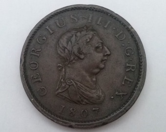 1807 One Penny Coin George III Very Fine Condition