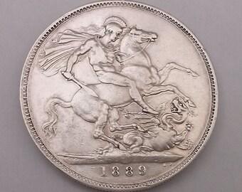 1889 Crown Silver Coin Queen Victoria Good Very Fine Condition