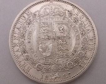 1887 Half Crown Coin Queen Victoria Silver Good Extra Fine Condition