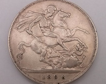 1896 Crown Silver Coin LX Queen Victoria Very Fine Condition
