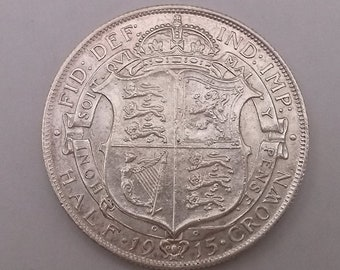 1915 Half Crown Coin George V Silver Good Extra Fine Condition