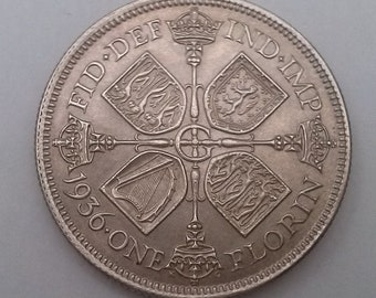 1936 Florin Silver Coin George V Near Uncirculated Condition