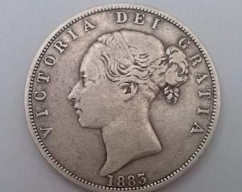 1883 Half Crown Coin Queen Victoria Silver Good Fine Condition