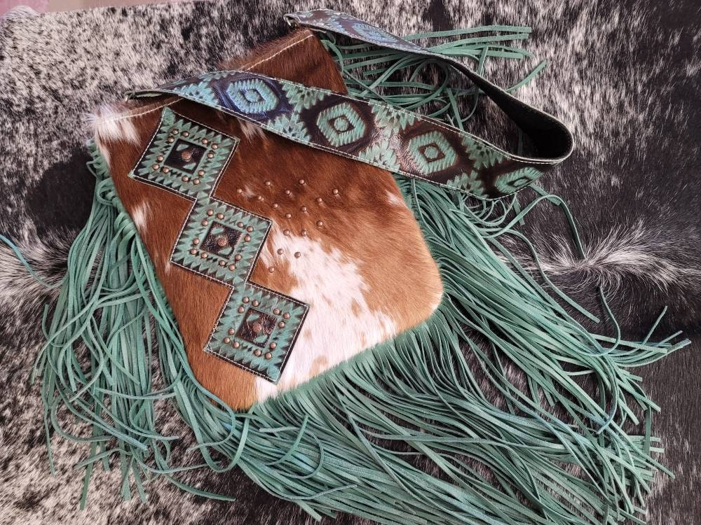 Shoshone Bag- Hair on Hide Brindle - Shoulder Purse - Cream and Tan Brindle - Western Purse