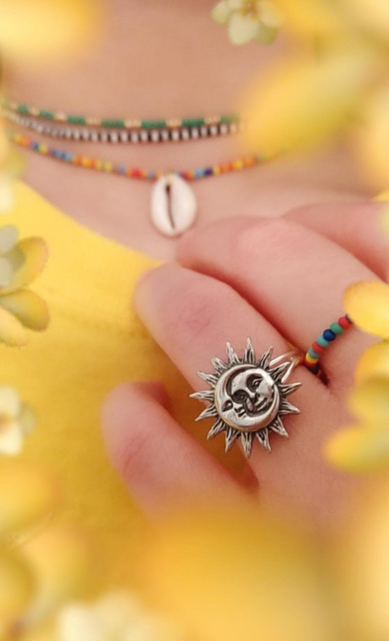 Space Buff Geek Ring Silver Plated Adjustable Ring Friendship Rings Space Ring Sunny Bohemian Beach Jewelry Celestial Sun /& Moon Ring