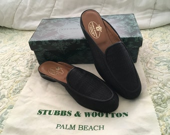 ea7091682 Vintage Stubbs & Wootton Palm Beach Black Raffia and Leather Mules Slides  Flats Size 6.5