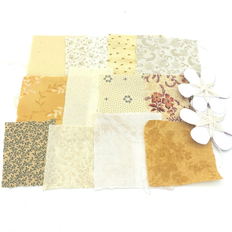 scrapbooking or junk journal embellishments Fabric scraps pack with silk thread for visible mending slow stitching or sewing craft kit