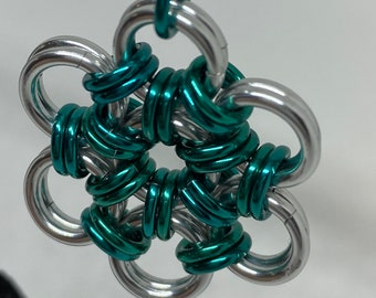 Sea Green Japanese Weave Chainmaille Pendant