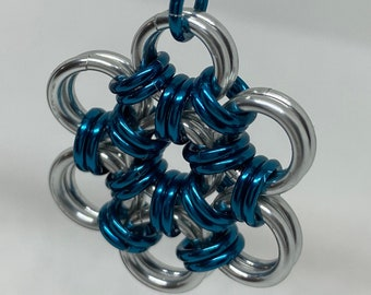 Peacock Blue Japanese Weave Chainmaille Pendant