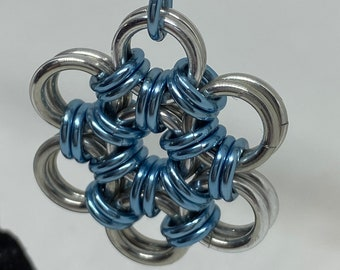 Light Blue Japanese Weave Chainmaille Pendant