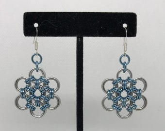 Light Blue Japanese Weave Chainmaille Earrings