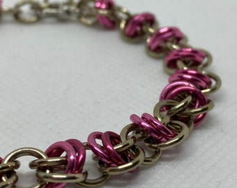 Champagne/Pink Orbital Weave Chainmaille Bracelet