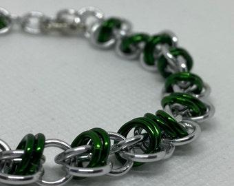 Silver/Green Orbital Weave Chainmaille Bracelet