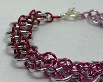 Pink Ombré Dragonsteps Chainmaille Bracelet