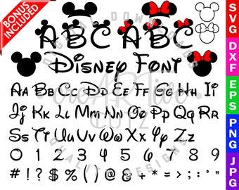Disney Font SVG, Minnie & Mickey Font DXF, Disney Alphabet, PNG, Vector, Printable, Clipart