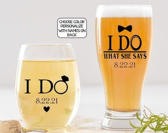 Personalized Wedding Gift for Couple, Bride and Groom Gift, I do and I do what she says gift set for just married couple, Funny Wedding Gift