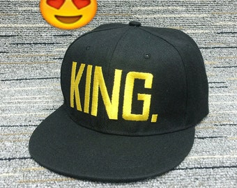 King And Queen Baseball Caps Best Quality Embroidery Flat Gift Idea Snapback  Honeymoon Couple His Hers Engagement Wedding 669bc924921c