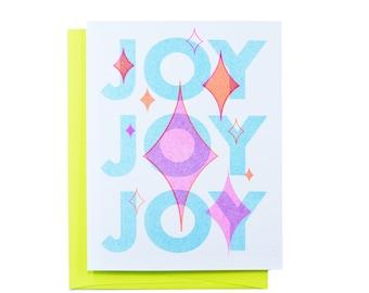 Joy Joy Joy - Retro Holiday Risograph Greeting Card - Holiday, Christmas Tree, Xmas, Snail Mail