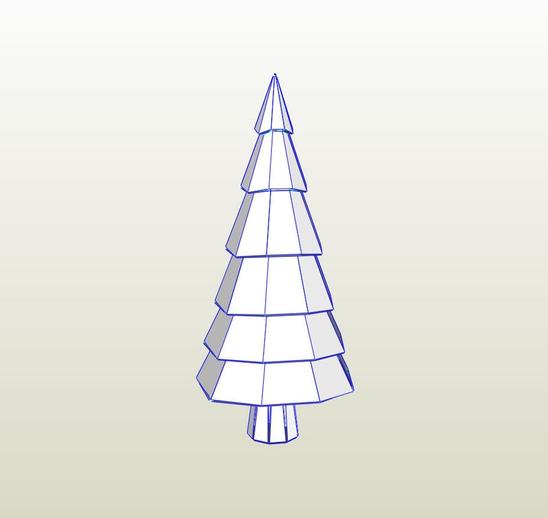 3d Paper Christmas Tree Template.Christmas Tree 3d Papercraft Pepakura Pattern Model Downloadable Diy Pdf Template