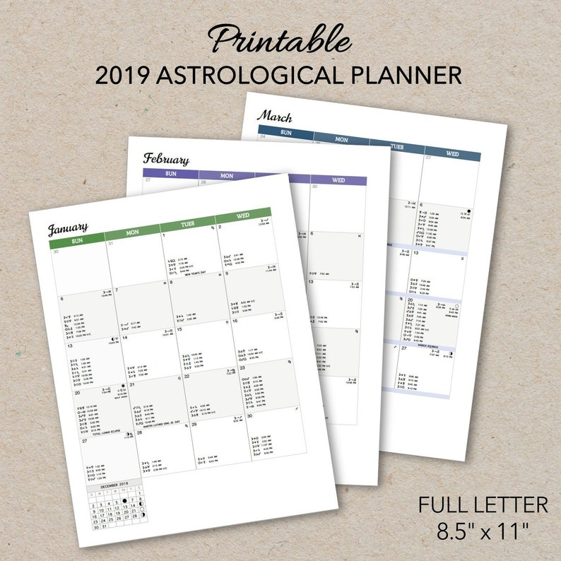 2019 Astrological Planner Printable, Letter Size PDF, 2019 Monthly Dated  Moon Calendar, Instant Download, Print at Home Astrology Calendar