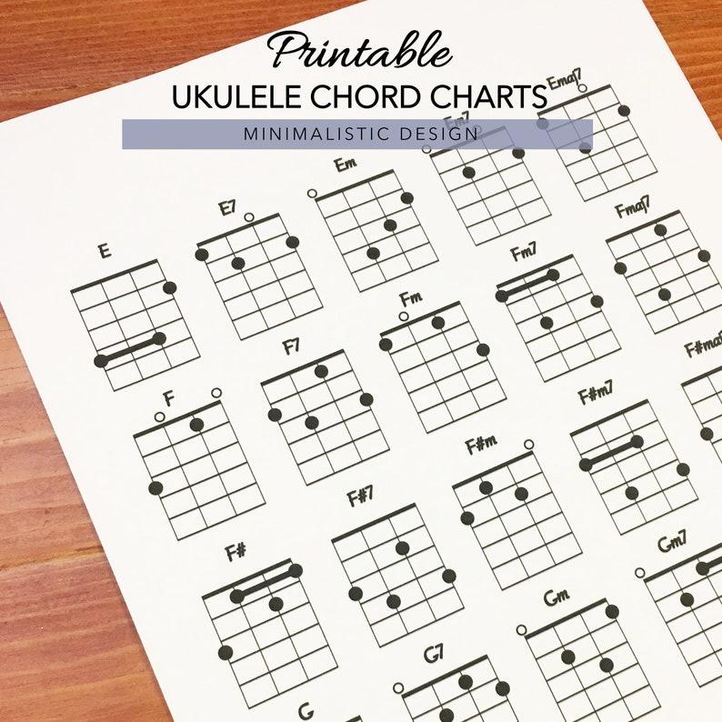 Ukulele Chord Charts, Printable PDF Format, Letter Size, Print at home
