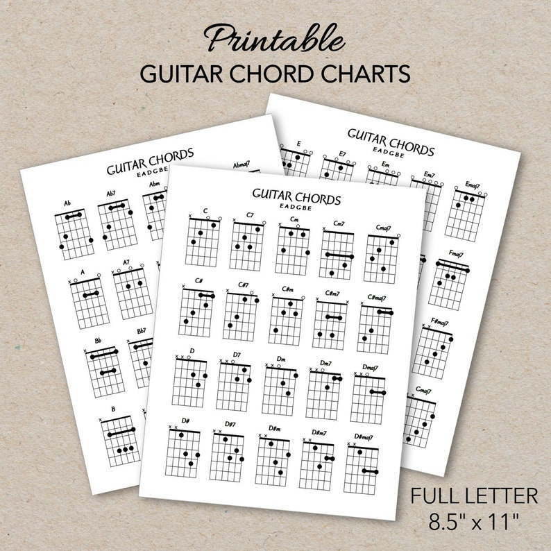 photo about Printable Guitar Chords Chart Pdf named Guitar Chord Charts, Printable PDF Layout, Letter Dimensions, Print at dwelling