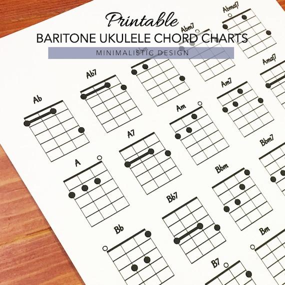 photograph regarding Ukulele Chord Chart Printable referred to as Baritone Ukulele Chord Charts, Printable PDF Layout, Letter Dimension, Print at dwelling
