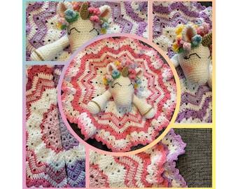 Unicorn Lovey Blanket PDF Pattern