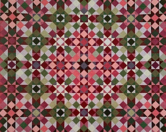"""CAROLYN MANNING DESIGNS """"Watermelon Tourmaline"""" Counted Cross Stitched Quilt Blocks~Cross Stitched Quilt Blocks Collection~Quilt Embroidery"""