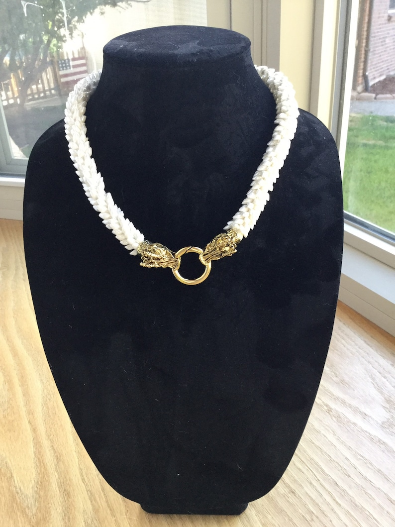 Pearl Ivory White Dragon Scale Necklace with Gold Toned Dragons Head Clasp