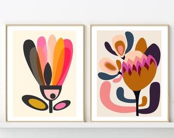 Mid Century Modern, Wall Art, Mid Century Art, Wall Decor, Minimalist Art, Scandinavian Art, Giclee Prints, Set of 2 Prints, Kirsten Katz